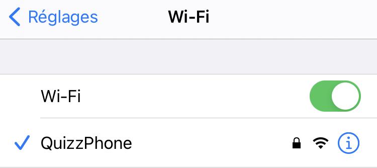 Connectez-vous au wifi : QuizzPhone